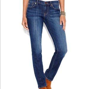 Lucky Brand Lola straight stitch run blue jeans 27
